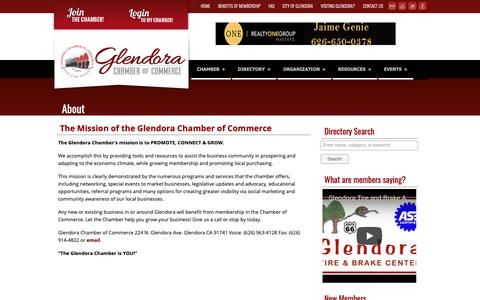 Screenshot of About Page glendora-chamber.org - Glendora Chamber of Commerce   Promote... Connect... Grow... - captured Sept. 28, 2018
