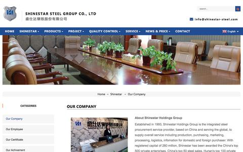 Screenshot of About Page shinestar-steel.com - Our Company - SHINESTAR STEEL GROUP CO., LTD. - captured Sept. 14, 2019
