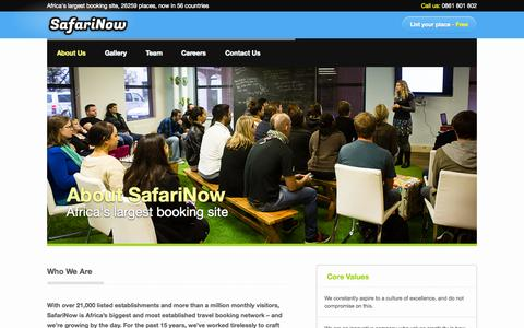 Screenshot of About Page safarinow.com - About SafariNow.com | Africa's biggest booking site. - captured Sept. 18, 2014