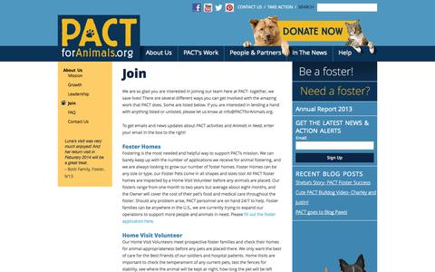 Screenshot of Signup Page pactforanimals.org - Join : PACT: PEOPLE/ANIMALS = COMPANIONS TOGETHER - captured Sept. 26, 2014