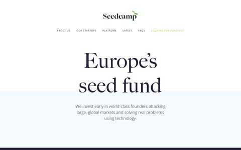 Screenshot of Home Page seedcamp.com - Seedcamp | Europe's seed fund - captured Aug. 22, 2017