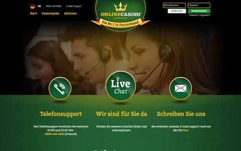 Screenshot of Support Page onlinecasino.de - 24h Support der OnlineCasino Deutschland AG - captured Nov. 26, 2015