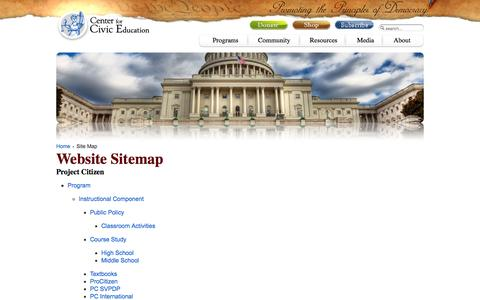 Screenshot of Site Map Page civiced.org - Site Map - captured Jan. 26, 2016