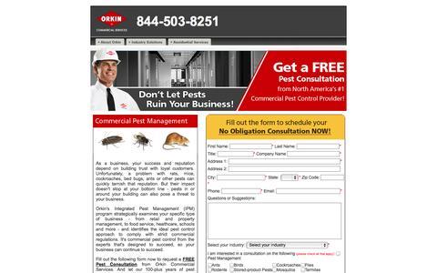 Screenshot of Landing Page orkin.com - Orkin Commercial Pest Control Service - captured Oct. 27, 2014