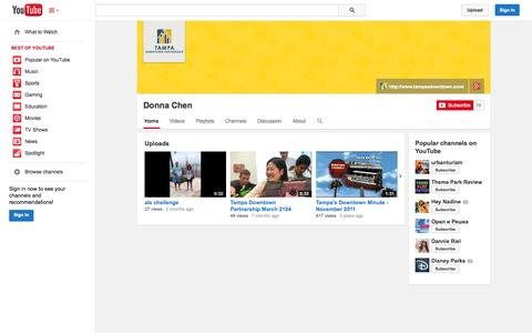 Screenshot of YouTube Page youtube.com - Donna Chen  - YouTube - captured Nov. 2, 2014