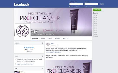Screenshot of Facebook Page facebook.com - ESPA - Farnham, United Kingdom - Spa, Beauty & Personal Care | Facebook - captured Oct. 22, 2014