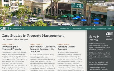 Screenshot of Case Studies Page cbm1.com - Retail Property Leasing and Management Services for Southern California - captured Jan. 26, 2016
