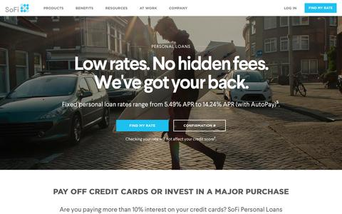 Personal Loans from SoFi   Low Rates, Fixed Monthly Payments