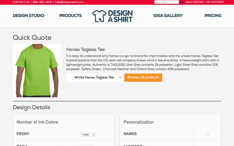 Screenshot of Pricing Page designashirt.com - Simple Custom T-Shirt Pricing | DesignAShirt.com - captured Jan. 20, 2016