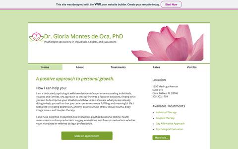 Screenshot of Home Page southflpsych.com - Dr. Gloria Montes de Oca, Psychologist - captured Oct. 9, 2018