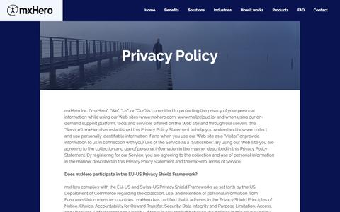 Screenshot of Privacy Page mxhero.com - Cloud Storage & Email | MxHero Inc. | Privacy - captured Sept. 27, 2018