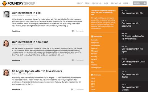 Screenshot of Blog foundrygroup.com - Blog | Foundry Group | Foundry Group - captured Nov. 3, 2014