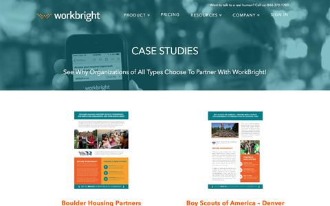 Screenshot of Case Studies Page workbright.com - Case Studies | WorkBright - captured May 4, 2017