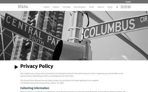 Screenshot of Privacy Page siklu.com - Privacy Policy » Siklu - captured Sept. 17, 2014