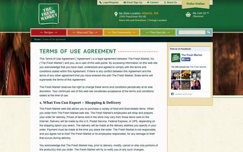 Screenshot of Terms Page thefreshmarket.com - Terms of Use Agreement - captured Sept. 22, 2014