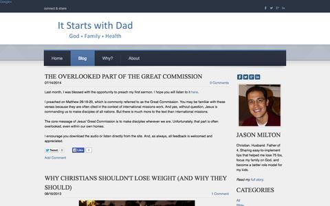 Screenshot of Blog itstartswithdad.com - It Starts with Dad - Blog - captured Sept. 30, 2014