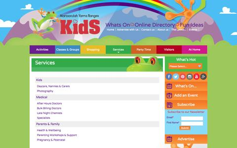 Screenshot of Services Page myrkids.com.au - Services - Maroondah Yarra Ranges Kids - captured Oct. 2, 2014