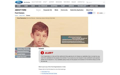 Screenshot of Jobs Page ford.com - Ford Careers, Jobs at Ford | Ford India - captured Sept. 18, 2014