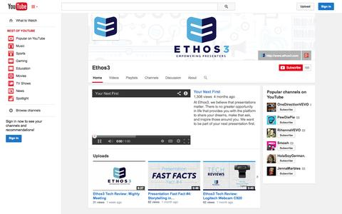 Screenshot of YouTube Page youtube.com - Ethos3  - YouTube - captured Oct. 22, 2014
