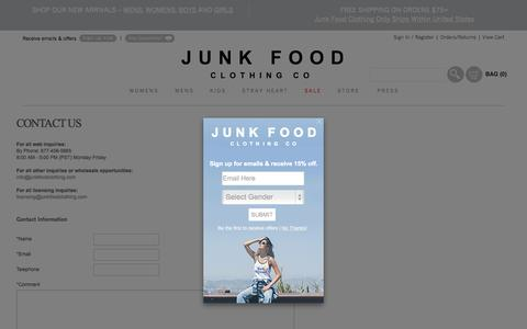 Screenshot of Contact Page junkfoodclothing.com - Graphic Shirts - Junk Food Clothing | Contact Us - captured Oct. 14, 2015