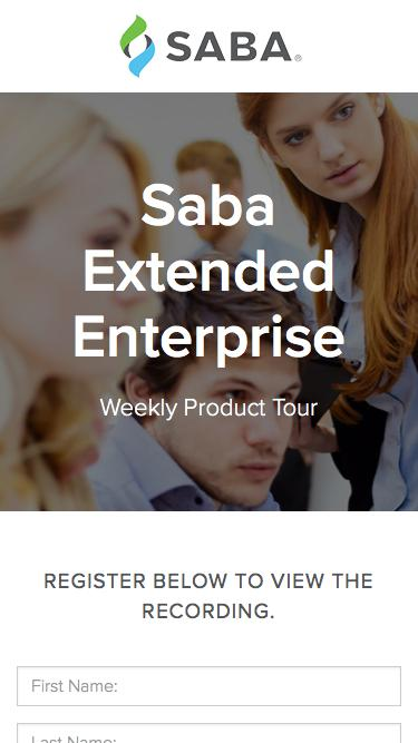 Weekly Product Tour Saba Extended Enterprise