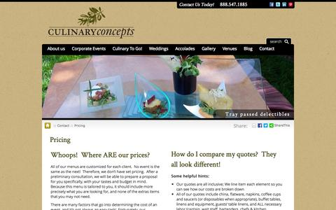 Screenshot of Pricing Page cateringspecialist.com - Culinary Concepts pricing is custom...but how can I compare? Read here - captured Oct. 3, 2014