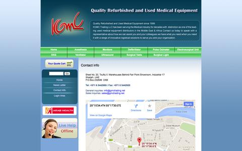 Screenshot of Products Page gmctrading.net - Contact info | Refurbished and Used Medical Equipment Company, Operating Room Equipment | KGMC Trading LLC - captured Oct. 6, 2014
