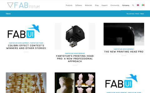 Screenshot of Press Page fabtotum.com - News | FABtotum - captured June 5, 2017