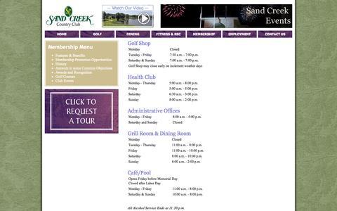 Screenshot of Hours Page sandcreek.com - Hours - captured Oct. 3, 2014