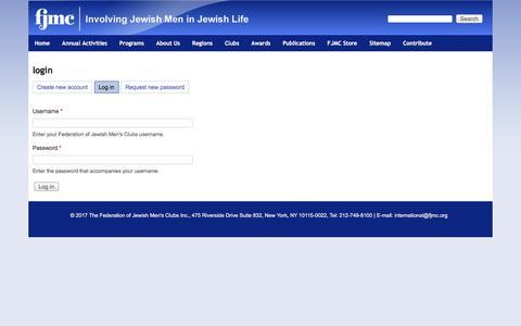 Screenshot of Login Page fjmc.org - login   Federation of Jewish Men's Clubs - captured June 5, 2017