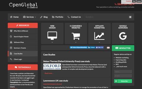 Screenshot of Case Studies Page openglobal.co.uk - Case Studies - captured Dec. 5, 2016