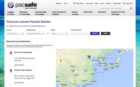 Screenshot of Maps & Directions Page pacsafe.com - Pacsafe -  Find A PacSafe Retailer Near You / The Leader in Anti-Theft Travel Bags and Travel Accessories - captured Sept. 22, 2014