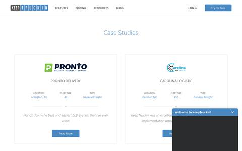 Screenshot of Case Studies Page keeptruckin.com - Case Studies | KeepTruckin - captured May 9, 2019