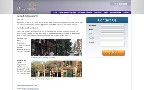 Screenshot of Contact Page dragonsearchmarketing.com - Contact DragonSearch | DragonSearch Digital Marketing | DragonSearch Digital Marketing - captured Oct. 10, 2014