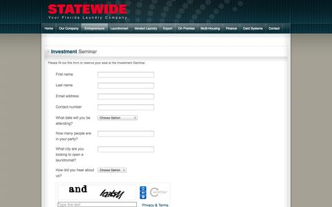 Screenshot of Signup Page statewideusa.com - Investment Seminar - captured Nov. 4, 2014