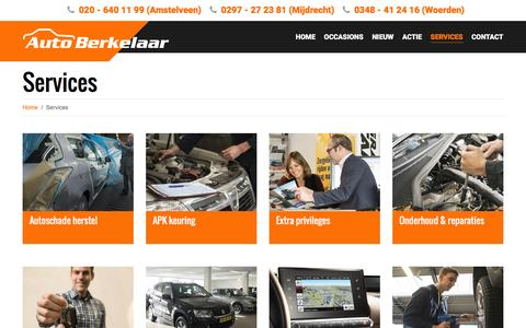 Screenshot of Services Page autoberkelaar.nl - Services - Auto Berkelaar - captured July 27, 2016