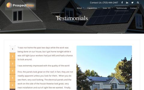Screenshot of Testimonials Page prospectsolar.com - Testimonials | Prospect Solar - captured July 22, 2018