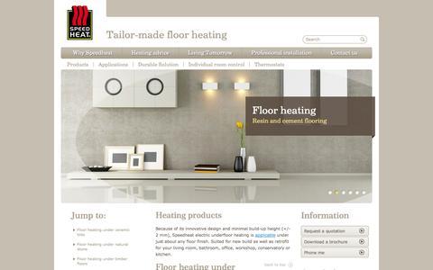 Screenshot of Products Page speedheat.co.za - Heating products | Speedheat underfloor heating - captured Oct. 6, 2014