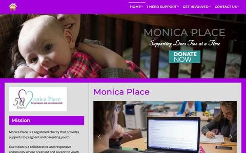 Screenshot of Home Page monicaplace.ca - Monica Place – Supporting Lives Two at a Time - captured Oct. 20, 2018