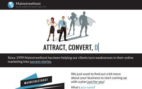 Screenshot of Landing Page mainstreethost.com - Attract. Convert. Get Return: Mainstreethost - captured July 13, 2016