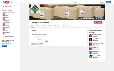 Screenshot of YouTube Page youtube.com - Las Vegas Fulfillment  - YouTube - captured Oct. 22, 2014