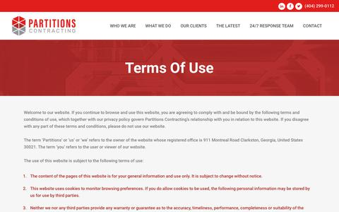 Screenshot of Terms Page partitionsgc.com - Terms of Use | Partitions - captured Sept. 27, 2018