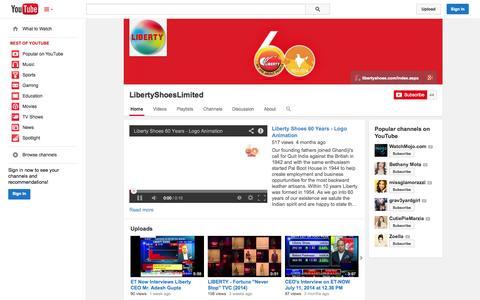 Screenshot of YouTube Page youtube.com - LibertyShoesLimited  - YouTube - captured Oct. 22, 2014