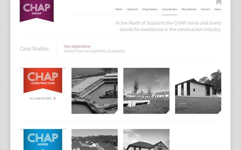Screenshot of Case Studies Page chap.co.uk - Case Studies | CHAP Group - captured Sept. 25, 2018