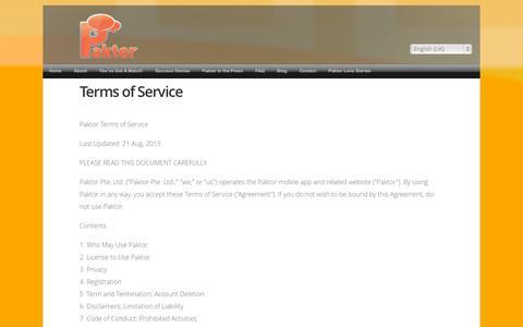 Screenshot of Terms Page gopaktor.com - Terms of Service - captured Sept. 13, 2014
