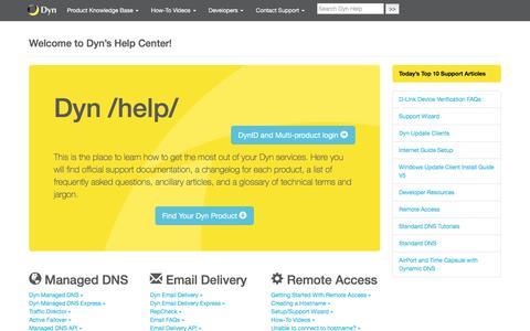 Screenshot of Support Page dyn.com - Dyn Help Center | help.dyn.com - captured Jan. 28, 2016