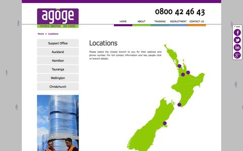 Screenshot of Contact Page Locations Page agoge.nz - Recruitment and Training are specialists in Manufacturing and Supply Chain - captured Jan. 21, 2016