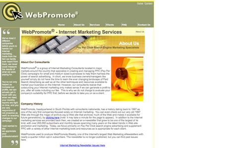 Screenshot of About Page webpromote.com - About WebPromote Internet Marketing Services - captured Oct. 7, 2014