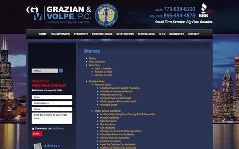 Screenshot of Site Map Page myaccidentlaw.com - Sitemap - Grazian & Volpe, P.C. - captured Oct. 3, 2014