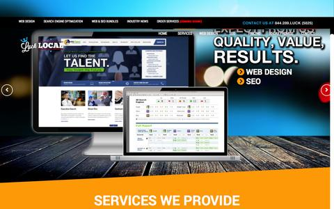 Screenshot of Home Page Contact Page Services Page Pricing Page lucklocal.com - Luck Local - captured Sept. 25, 2014